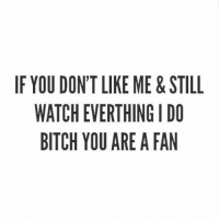 🤷🏼‍♀️💅🏻 An oldie but still makes me laugh.: IF YOU DONT LIKE ME&STILL  WATCH EVERTHING I DO  BITCH YOU ARE A FAN 🤷🏼‍♀️💅🏻 An oldie but still makes me laugh.