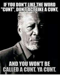 """Cunt: IF YOU DON'T LIKE THE WORD  """"CUNT DONTACT  LIKE A CUNT  AND YOU WON'T BE  CALLED A CUNT YA CUNT"""