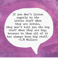 Dank, Stuff, and Been: If you don't listen  eagerly to the  little stuff when  they are little,  they won't tell you the big  stuff when they are big,  because to them all ofit  has always been big stuff.  C. M Wallace It's all big stuff.
