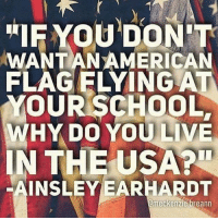 Memes, School, and Live: IF YOU DON'T  WANTANAMERICAN  FLAGELYING ATV  YOUR SCHOOL,  WHY DO YOU LIVE  IN THE USA?  INSLEYEARHARDT  meckenziebreann Right?