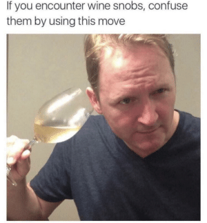 zombiebiologist: shittylifeprotips: SLPT: Confuse those wine snobs by *hearing* the wine so i told my mom about this post before she and my dad went on a trip to napa, and she was delighted to try this out and apparently, when she straight-faced, lifted her glass of chardonnay to her ear and swirled it, she baffled the other winery-goers so much that they all instinctively did exactly the same thing. that sort of crowd-think, that you aren't quite sure what's right but you'll be damned if you're mistaken for the plebian that you are but watching that was enough for my mom to lose her composure, laugh so hard she cried, and spill the entire glass all over herself, in the process getting kicked out of the winery so long story short do this at your own risk : If you encounter wine snobs, confuse  them by using this move zombiebiologist: shittylifeprotips: SLPT: Confuse those wine snobs by *hearing* the wine so i told my mom about this post before she and my dad went on a trip to napa, and she was delighted to try this out and apparently, when she straight-faced, lifted her glass of chardonnay to her ear and swirled it, she baffled the other winery-goers so much that they all instinctively did exactly the same thing. that sort of crowd-think, that you aren't quite sure what's right but you'll be damned if you're mistaken for the plebian that you are but watching that was enough for my mom to lose her composure, laugh so hard she cried, and spill the entire glass all over herself, in the process getting kicked out of the winery so long story short do this at your own risk