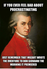 <p>Procrastination Fact.</p>: IF YOU EVER FEEL BAD ABOUT  PROCRASTINATING  JUST REMEMBER THAT MOZART WROTE  THE OVERTURE TO DON GIOVANNI THE  MORNING IT PREMIERED <p>Procrastination Fact.</p>