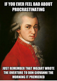 <p>Procrastinating Expert</p>: IF YOU EVER FEEL BAD ABOUT  PROCRASTINATING  JUST REMEMBER THAT MOZART WROTE  THE OVERTURE TO DON GIOVANNI THE  MORNING IT PREMIERED <p>Procrastinating Expert</p>