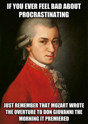 srsfunny:Procrastinating Expert: IF YOU EVER FEEL BAD ABOUT  PROCRASTINATING  JUST REMEMBER THAT MOZART WROTE  THE OVERTURE TO DON GIOVANNI THE  MORNING IT PREMIERED srsfunny:Procrastinating Expert