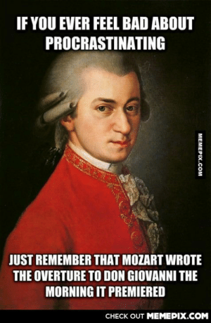 Mozart, like a Bossomg-humor.tumblr.com: IF YOU EVER FEEL BAD ABOUT  PROCRASTINATING  JUST REMEMBER THAT MOZART WROTE  THE OVERTURE TO DON GIOVANNI THE  MORNING IT PREMIERED  CHECK OUT MEMEPIX.COM  MEMEPIX.COM Mozart, like a Bossomg-humor.tumblr.com