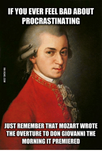 If only I was a genius like him... http://9gag.com/gag/aOyewoD?ref=fbp: IF YOU EVER FEEL BAD ABOUT  PROCRASTINATING  JUST REMEMBER THATMOZARTWROTE  THE OVERTURE TO DON GIOVANNI THE  MORNING IT PREMIERED If only I was a genius like him... http://9gag.com/gag/aOyewoD?ref=fbp