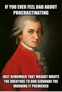 Oh, Mozart!: IF YOU EVER FEEL BAD ABOUT  PROCRASTINATING  JUST REMEMBER THATMOZARTWROTE  THE OVERTURE TO DON GIOVANNI THE  MORNING IT PREMIERED Oh, Mozart!