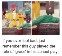 Bad, School, and Irl: If you ever feel bad, just  remember this guy played the  role of 'grass' in his school play. me irl