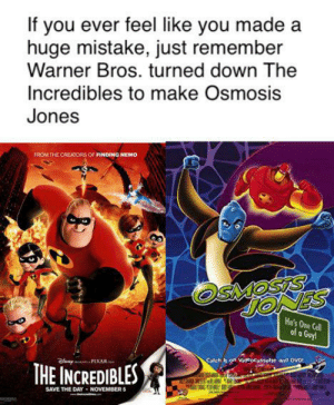 Finding Nemo, Hello, and Pixar: If you ever feel like you made a  huge mistake, just remember  Warner Bros. turned down The  Incredibles to make Osmosis  Jones  FROM THE CREATORS OF FINDING NEMO  He's One Cell  of a Guy!  Calch It on Vigeocassette and DVD  PIXAR  THE INCREDIBLES  SAVE THE DAY NOVEMBER 5  w s Hello darkness my old friend...