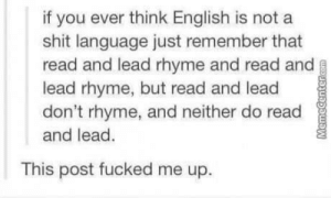 Club, Shit, and Tumblr: if you ever think English is not a  shit language just remember that  read and lead rhyme and read and  lead rhyme, but read and lead  don't rhyme, and neither do read  and lead.  This post fucked me up. laughoutloud-club:  I can't brain anymore