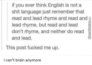 Just fuck my brain up: if you ever think English is not a  shit language just remember that  read and lead rhyme and read and  lead rhyme, but read and lead  don't rhyme, and neither do read  and lead.  This post fucked me up.  l can't brain anymore Just fuck my brain up