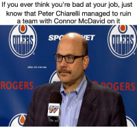 We need cap space... uhhhh let's trade Jordan Eberle for a 30 point player and sign Kris Russel to an extension!: If you ever think you're bad at your job, just  know that Peter Chiarelli managed to ruin  a team with Connor McDavid on it  SP  ET  elite.nhl.memes  ROGERS  GERS  刀 We need cap space... uhhhh let's trade Jordan Eberle for a 30 point player and sign Kris Russel to an extension!