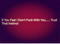 Boo, Memes, and Fuck: If You Feel I Don't Fuck With You..... Trust  That Instinct Trust your gut boo idfwu Via @getoutchomood