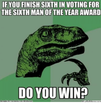 Facebook, Logic, and Meme: IF YOU FINISH SIXTH IN VOTING FOR  THE SIXTH MAN OF THE YEAR AWARD  DO YOU WIN?  Brought By Facebook Gorm/NBAMendes  WhatipUM Philosoraptor Logic! Credit: Jordan Hochmuth  http://whatdoumeme.com/meme/5bcfw4