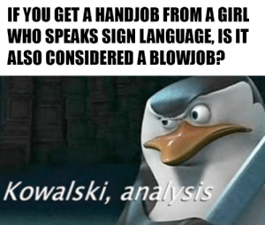 Blowjob, Dank, and Handjob: IF YOU GET A HANDJOB FROM A GIRL  WHO SPEAKS SIGN LANGUAGE, IS IT  ALSO CONSIDERED A BLOWJOB?  Kowalski, analysis A question Ive long pondered. by Elephant_ITR MORE MEMES
