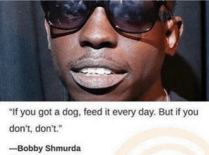 """me🐕irl by MagikarpIsBoss FOLLOW 4 MORE MEMES.: """"If you got a dog, feed it every day. But if you  don't, don't.""""  -Bobby Shmurda me🐕irl by MagikarpIsBoss FOLLOW 4 MORE MEMES."""