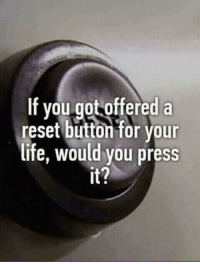 Memes, 🤖, and Press: If you got offered a  reset button for your  life, would you press  It?