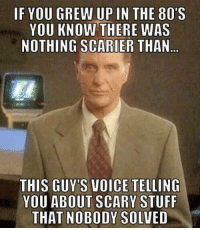 scary: IF YOU GREW UP IN THE 80'S  YOU KNOW THERE WAS  NOTHING SCARIER THAN  THIS GUY'S VOICE TELLING  YOU ABOUT SCARY STUFF  THAT NOBODY SOLVED