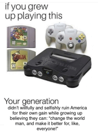 """America, Growing Up, and Kids: If you grew  up playing this  Your generation  didn't willfully and selfishly ruin America  for their own gain while growing up  believing they can: """"change the world  man, and make it better for, like,  everyone!"""""""