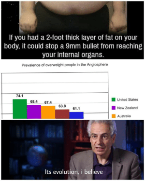 Eat more boys.it helps by ninjawick MORE MEMES: If you had a 2-foot thick layer of fat on your  body, it could stop a 9mm bullet from reaching  your internal organs.  Prevalence of overweight people in the Anglosphere  74.1  United States  New Zealand  Australia  68.4 67.4  63.8  61.1  Its evolution, i believe Eat more boys.it helps by ninjawick MORE MEMES