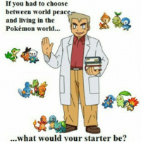 Anime, Dank, and Funny: If you had to choose  between world peac  and living in the  Pokémon world...  ...what would your starter be? Hmmmm tough question …. 😂 - Sent in by FunnyPokemonAmbassador @Ismael.maldo ! Thanks! ___________ Want to become an official Funny Pokemon Ambassador too? Then DM us your best and funniest pokemon memes to feature 😀 ___________ pokemon nintendo anime art blizzard deviantart picoftheday videogames comics pikachu meme draw dankmemes pokemoncards followme gamer gaming pokemontcg dank pokemongo fun pokemonmemes follow cool lol pikachu pokeball peace