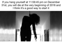 "Dank, Meme, and Good: If you hang yourself at 11:59:45 pm on December  31st, you will die at the very beginning of 2018 and  I think it's a good way to start it <p>What do you say fellas? via /r/dank_meme <a href=""http://ift.tt/2BXYwkX"">http://ift.tt/2BXYwkX</a></p>"