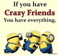 crazy: If you have  Crazy Friends  You have everything.  FB4.ME