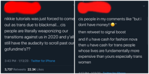 If you have enough $$ to buy clothes then that means you're REQUIRED to instead use that money to donate to my gofundme, or else you're transphobic :(: If you have enough $$ to buy clothes then that means you're REQUIRED to instead use that money to donate to my gofundme, or else you're transphobic :(
