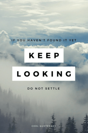 Cool, Quotes, and Net: IF YOU HAVEN'T FOUND IT YET  KE E P  LOO KIN G  DO NOT SETTL E  COOL QUOTES.NET