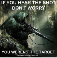 - Tom Retterbush: IF YOU HEAR THE SHOT  DONT WORRY  YOU WEREN'T THE TARGET  Meme Created by Tom Retterbush e Survival Watch - Tom Retterbush