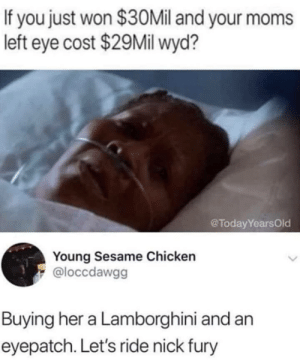 Dank, Memes, and Moms: If you just won $30Mil and your moms  left eye cost $29Mil wyd?  @TodayYearsOld  Young Sesame Chicken  @loccdawgg  Buying her a Lamborghini and an  eyepatch. Let's ride nick fury If you won $30 mil… by Mr-Klaus MORE MEMES