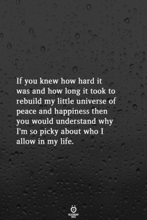Life, Happiness, and Peace: If you knew how hard it  was and how long it took to  rebuild my little universe of  peace and happiness then  you would understand why  I'm so picky about who I  allow in my life.