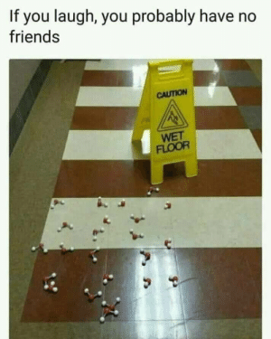 caution: If you laugh, you probably have no  friends  CAUTION  WET  FLOOR