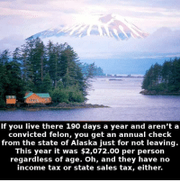 Memes, Taxes, and Alaska: If you live there 190 days a year and aren't a  convicted felon, you get an annual check  from the state of Alaska just for not leaving.  This year it was $2,072.00 per person  regardless of age. Oh, and they have no  income tax or state sales tax, either. https://t.co/VJbaPjIAsf