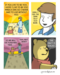 LOL! There is a dark side to that old Pooh bear....: IF YOU LIVE TO BE 10O  I HOPE I LIVE TO BE 10O  MINUS A DAY SO I NEVER  HAVE TO LIVE WITHOUT  HAHA, I  FEEL THE  YOU  SAME  SILLY  OLD  BEAR  SO WE WILL  YEAH, WAIT.  DIE TOGETHER  WHAT?  THEN  THE  PACT IS  SEALED  One into Kaptwre com LOL! There is a dark side to that old Pooh bear....