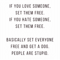 Love, Free, and Girl Memes: IF YOU LOVE SOMEONE,  SET THEM FREE  IF YOU HATE SOMEONE,  SET THEM FREE  BASICALLY SET EVERYONE  FREE AND GET A DOG  PEOPLE ARE STUPID 🐶🐶🐶AHAHAHA !!! rp & follow @yourfavoriteexgf 💗 @yourfavoriteexgf 🙌🏽 @yourfavoriteexgf