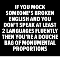 Memes, English, and 🤖: IF YOU MOCK  SOMEONE'S BROKEN  ENGLISH AND YOU  DON'T SPEAK AT LEAST  2 LANGUAGES FLUENTLY  THEN YOU'RE A DOUCHE  BAG OF MONUMENTAL  PROPORTIONS ☝️☝️