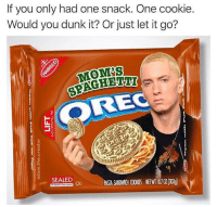"""Dunk, Memes, and Moms: If you only had one snack. One cookie.  Would you dunk it? Or just let it go?  MOMS  SPAGHETH  OREC  SEALED PASIA SANDWGH OOKESNE03) <p>mom's spaghetti via /r/memes <a href=""""http://ift.tt/2etzpNj"""">http://ift.tt/2etzpNj</a></p>"""