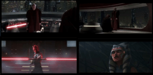 If you play Star Wars The Clone Wars s7e10 (18:30) and ROTS (1:10:50) at the same time, you can watch both duels in tandem. There are many parallels, throughout the fight, ending with Ahsoka looking up as Anakin pledged himself to Sidious.: If you play Star Wars The Clone Wars s7e10 (18:30) and ROTS (1:10:50) at the same time, you can watch both duels in tandem. There are many parallels, throughout the fight, ending with Ahsoka looking up as Anakin pledged himself to Sidious.