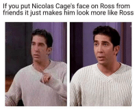 Friends, Dank Memes, and Ross: If you put Nicolas Cage's face on Ross from  friends it just makes him look more like Ross Uncanny