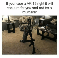 Guns, Memes, and Vacuum: If you raise a AR 15 right it will  vacuum for you and not be a  murderer Guns don't kill, sick people kill 2ndamendment gunrights