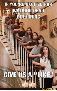 Memes, 🤖, and Walkingdead: IF YOU RE EXCITED FOR  WALKING DEAD  RETURNING  GIVE US A ILIKE00  funny. Are You Excited? #TWD #TWDFamily #WalkingDead #TheWalkingDead #DeadTalkNews #TWDSeason7