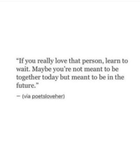"Future, Love, and Today: ""If you really love that person, learn to  wait. Maybe you're not meant to be  together today but meant to be in the  future.""  -(via poetsloveher)"