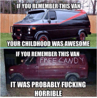 IF YOU REMEMBER THIS VAN aA  YOUR CHILDHOOD WAS AWESOME  IF YOU REMEMBER THIS VAN  FREE CANDY  HORRIBLE Ouch. Car memes