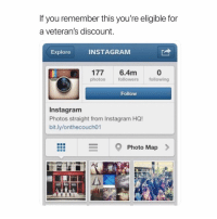 Facts, Fam, and Funny: If you remember this you're eligible for  a veteran's discount.  Explore  INSTAGRAM  177 6.4m  photos  followers following  Follow  Instagram  Photos straight from Instagram HQ!  bit.ly/onthecouch01  Photo Map> Big facts fam. 😂 tbt