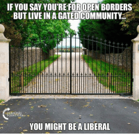 Memes, True, and Live: IF YOU SAY YOU'RE FOROPEN BORDERS  BUT LIVE IN A GATEDICOMMUNITY  OINT USA  YOU MIGHT BEA LIBERAL True... #BigGovSucks