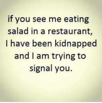 Memes, 🤖, and Kidnapping: if you see me eating  salad in a restaurant,  I have been kidnapped  and I am trying to  signal you.