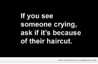 Crying, Funny, and Haircut: If you see  someone crying,  ask if it's because  of their haircut.  MORE WATERMARKS DAMNLOLCOM How would you take it?