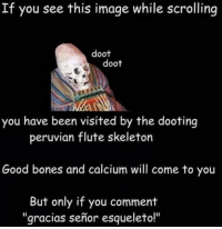 "Do it - other guy: If you see this image while scrolling  doot  doot  you have been visited by the dooting  peruvian flute skeleton  Good bones and calcium will come to you  But only if you comment  gracias senor esqueleto!"" Do it - other guy"