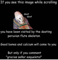"If You See This Image While Scrolling: If you see this image while scrolling  doot  doot  you have been visited by the dooting  peruvian flute skeleton  Good bones and calcium will come to you  But only if you comment  ""gracias senior esqueleto!"""